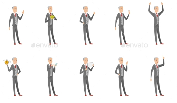 Old Businessman Vector Illustrations Set - People Characters