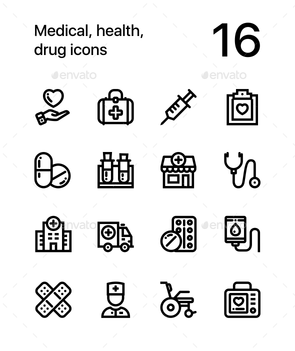 GraphicRiver Medical Health Drug Icons for Web and Mobile Design Pack 1 20353470
