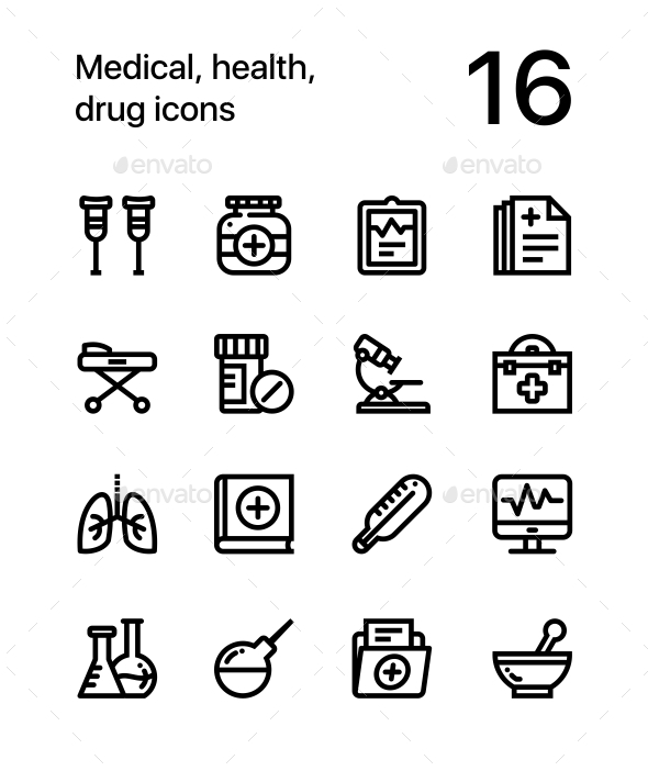 Medical, Health, Drug Icons for Web and Mobile Design Pack 2 - Icons