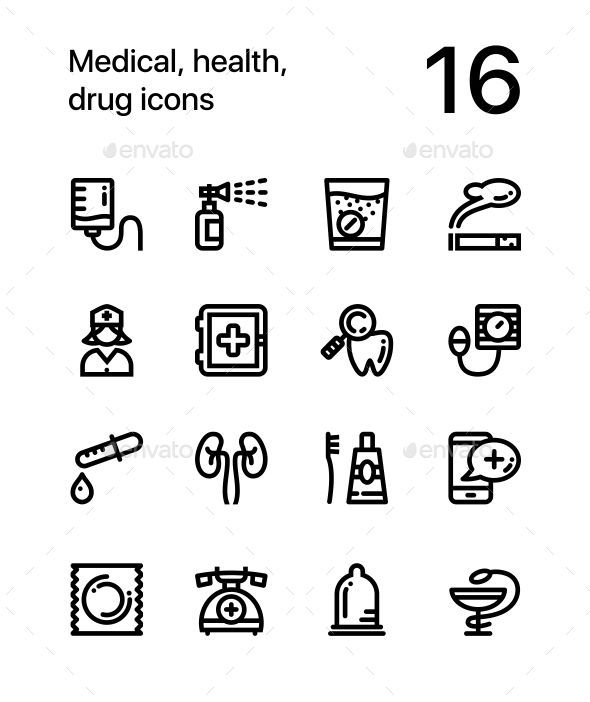 GraphicRiver Medical Health Drug Icons for Web and Mobile Design Pack 3 20353491