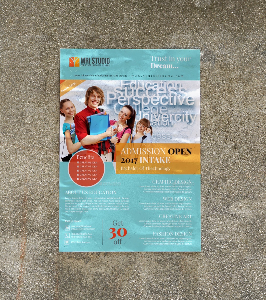 admission open flyer template by mrikhokon graphicriver