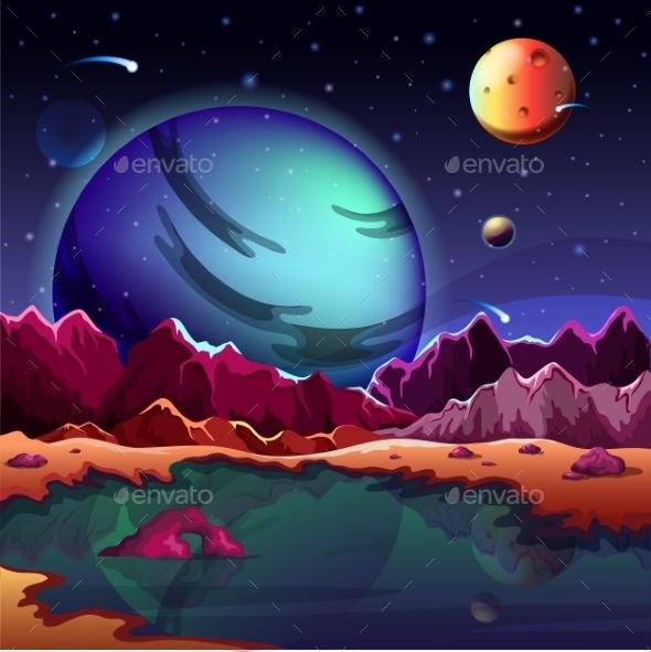 Cartoon Planet Landscape or Scenery Terrain - Landscapes Nature