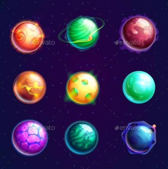Set of Isolated Cartoon Planets with Satellites - Miscellaneous Vectors