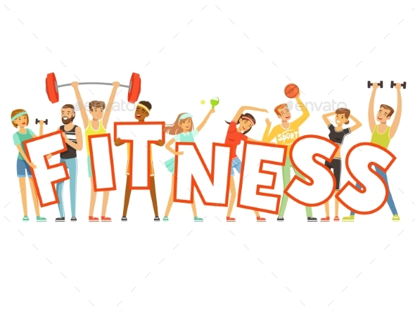 People in Sport Uniforms Holding the Word Fitness - People Characters