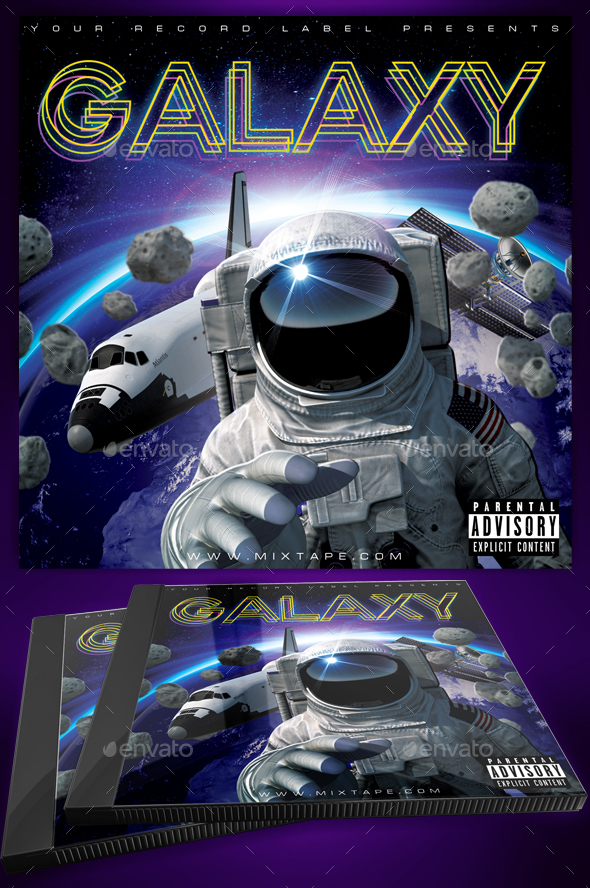 Galaxy Space CD Cover Template - CD & DVD Artwork Print Templates