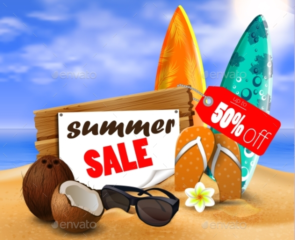 Summer Sale Banner Online Shopping - Seasons/Holidays Conceptual