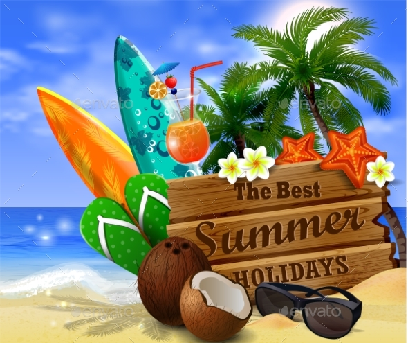 Wooden Board on Tropical Background - Seasons/Holidays Conceptual