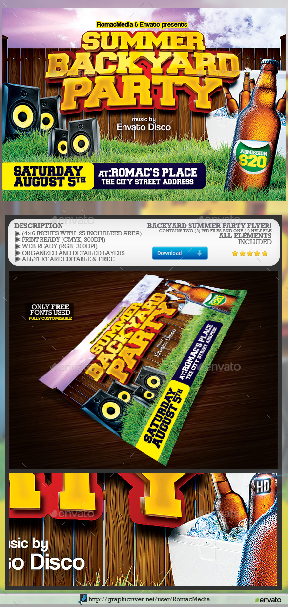 GraphicRiver Backyard Party Flyer 20354437