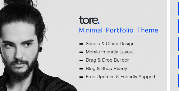 Tore - Minimal Portfolio WordPress Theme from ZozoThemes
