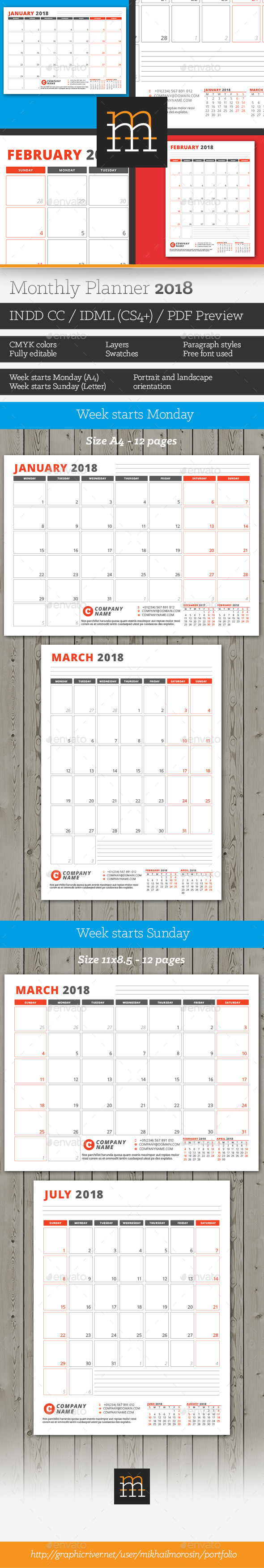 GraphicRiver Monthly Planner 2018 20347744