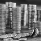 Black and white picture of coins stacks - PhotoDune Item for Sale