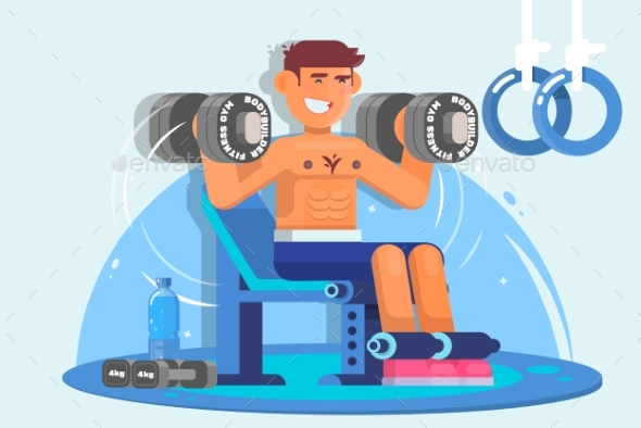 Weightlifter Training with Dumbbell. Flat Style - Sports/Activity Conceptual