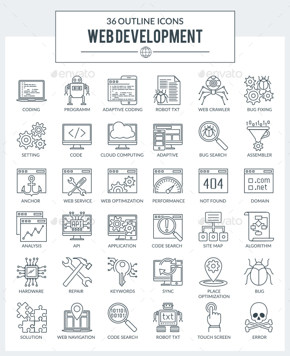 GraphicRiver Outline icons of WEB Development and Programming 20355608
