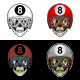 Biker Skull Eight Ball Helmet With 4 Style Color