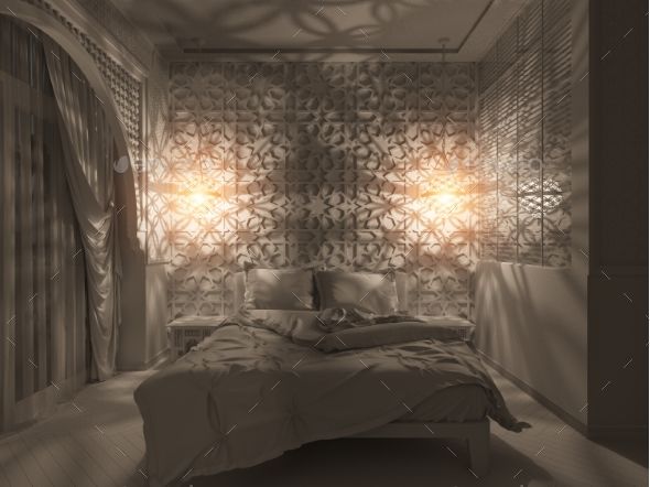 GraphicRiver 3D Render Bedroom Islamic Style Interior Design 20356145