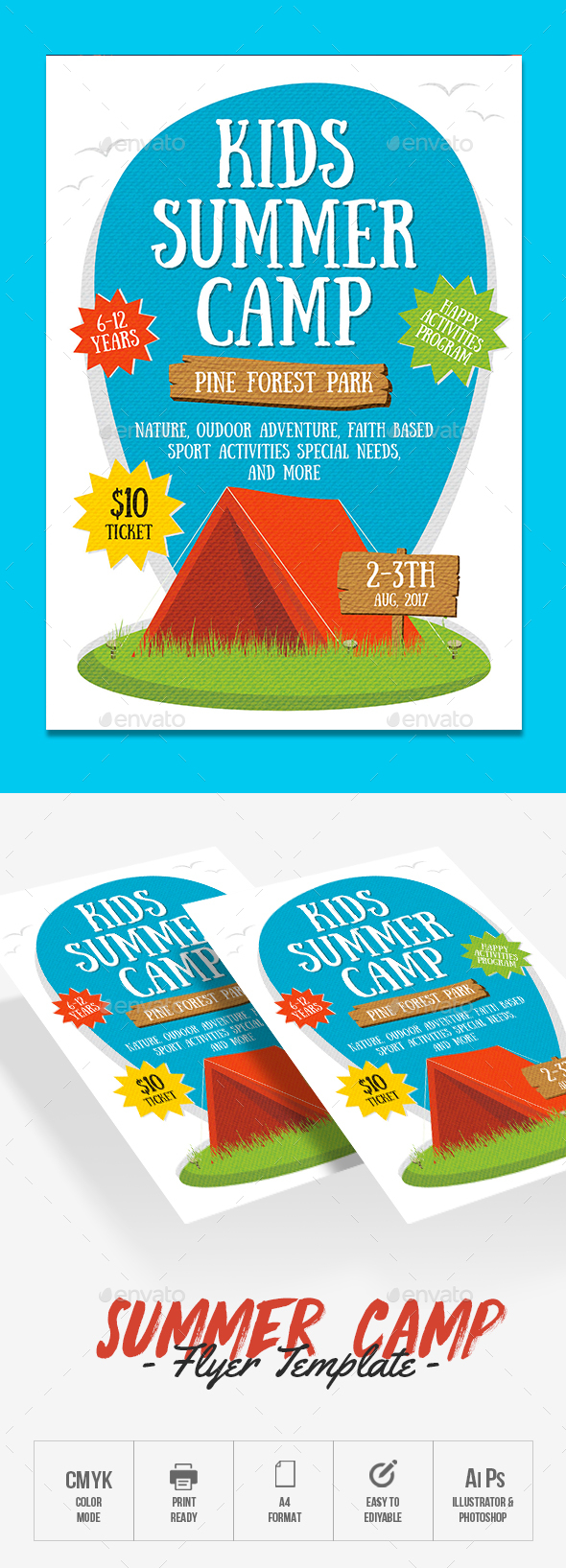 kids summer camp flyer by rockgasm graphicriver. Black Bedroom Furniture Sets. Home Design Ideas