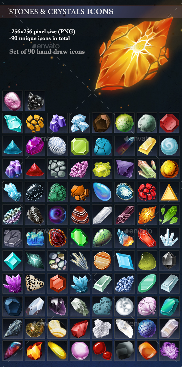Stones and Crystals Icons - Miscellaneous Game Assets