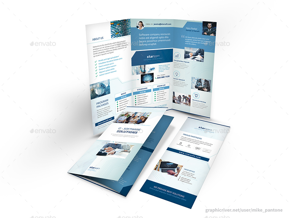 Software Business Trifold Brochure By Mike_Pantone | Graphicriver