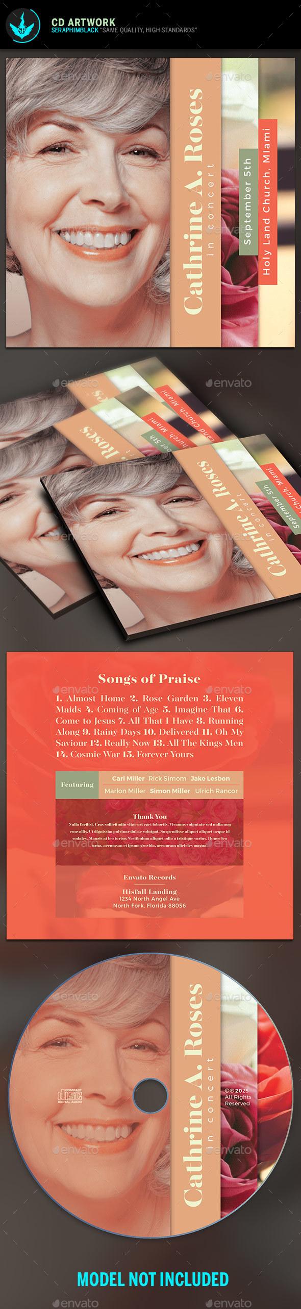 Red Rose CD Artwork Template - CD & DVD Artwork Print Templates