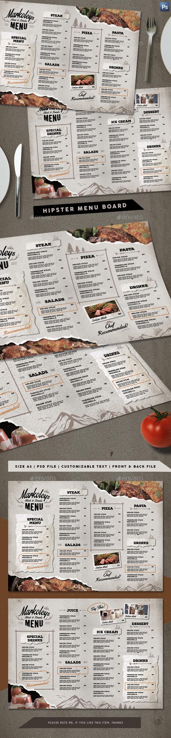 Hipster Cafe Menu Board - Food Menus Print Templates