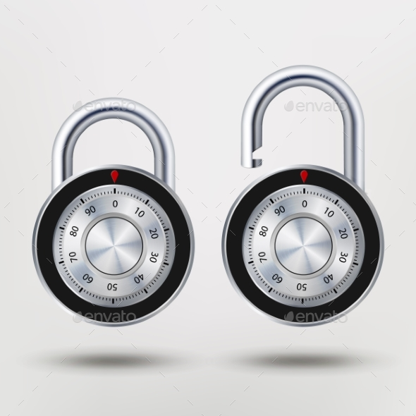 GraphicRiver Combination Padlock Realistic Metal Vector 20357005