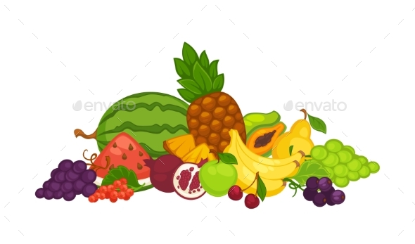 Fruits and Berries in a Heap - Food Objects