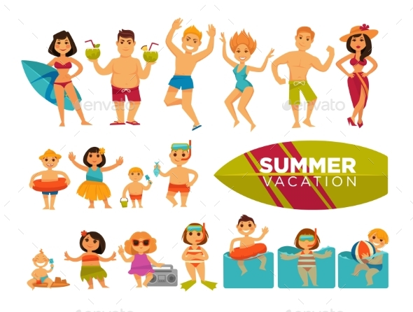 Summer Vacation Set of Cartoon Characters - Sports/Activity Conceptual
