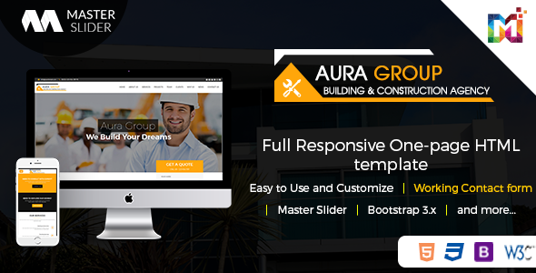 Aura - Construction Contractor Renovation Responsive HTML Template