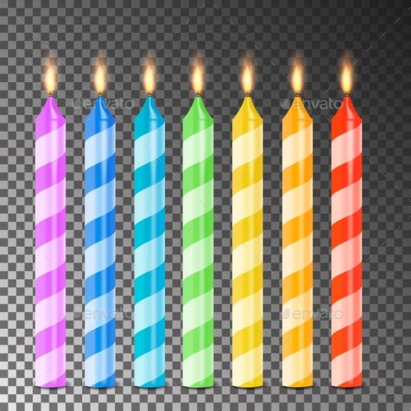 Burning 3D Realistic Candles Vector - Birthdays Seasons/Holidays