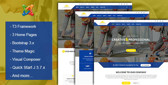 Construction & Building Business Joomla Theme - Corporate Joomla