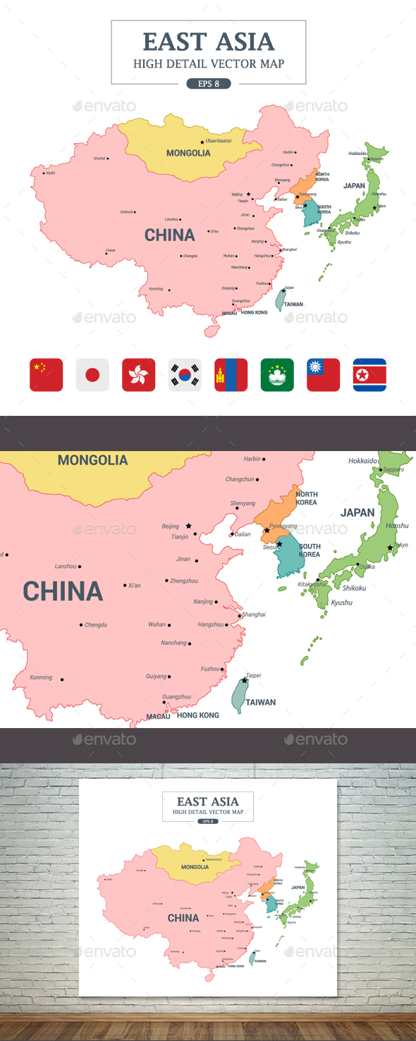 east asia map full color high detail separated by country miscellaneous seasonsholidays
