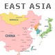 East Asia Map Full Color High Detail Separated by Country