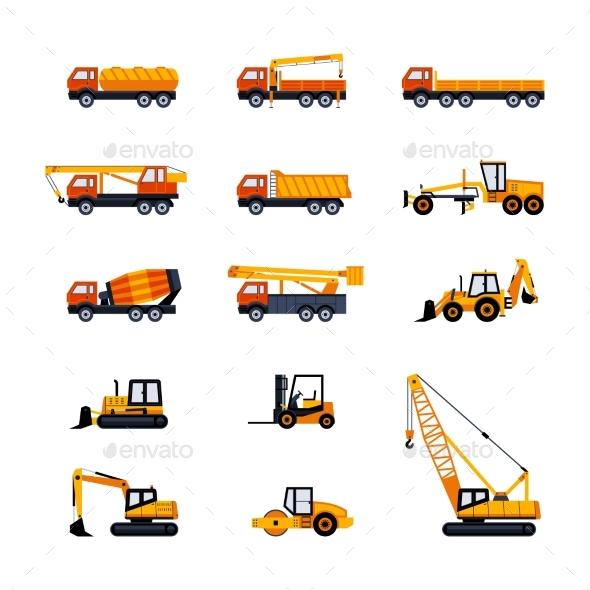 Construction Vehicles - Modern Vector Flat Design - Industries Business