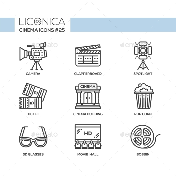 Cinema - Modern Vector Flat Line Design Icons Set - Miscellaneous Vectors