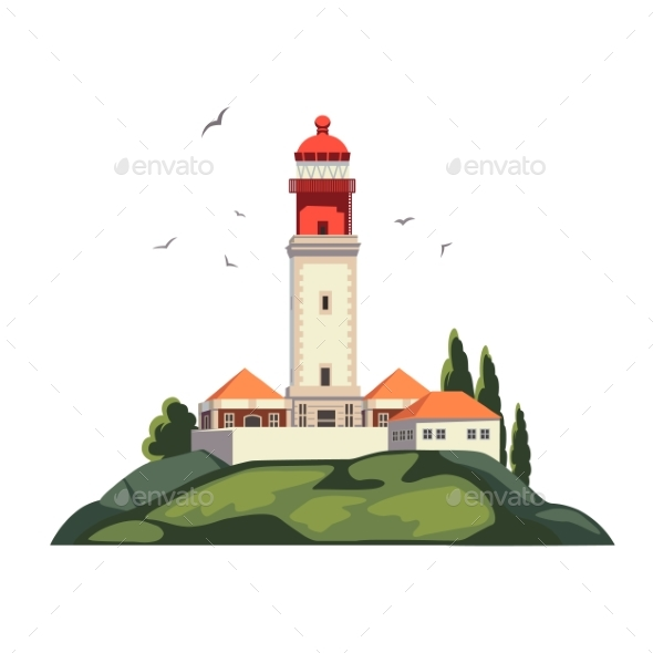 Lighthouse on Coast of Sea, Lighthouse - Landscapes Nature