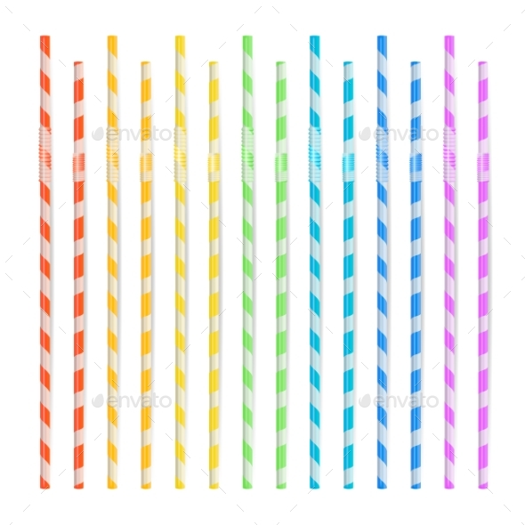 Colorful Drinking Straws Set - Food Objects