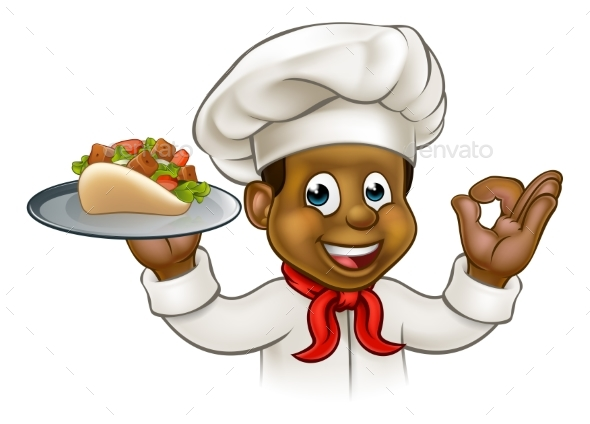 Cartoon Black Chef with Kebab - Food Objects