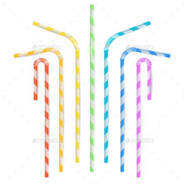 Colorful Drinking Straws Vector - Food Objects