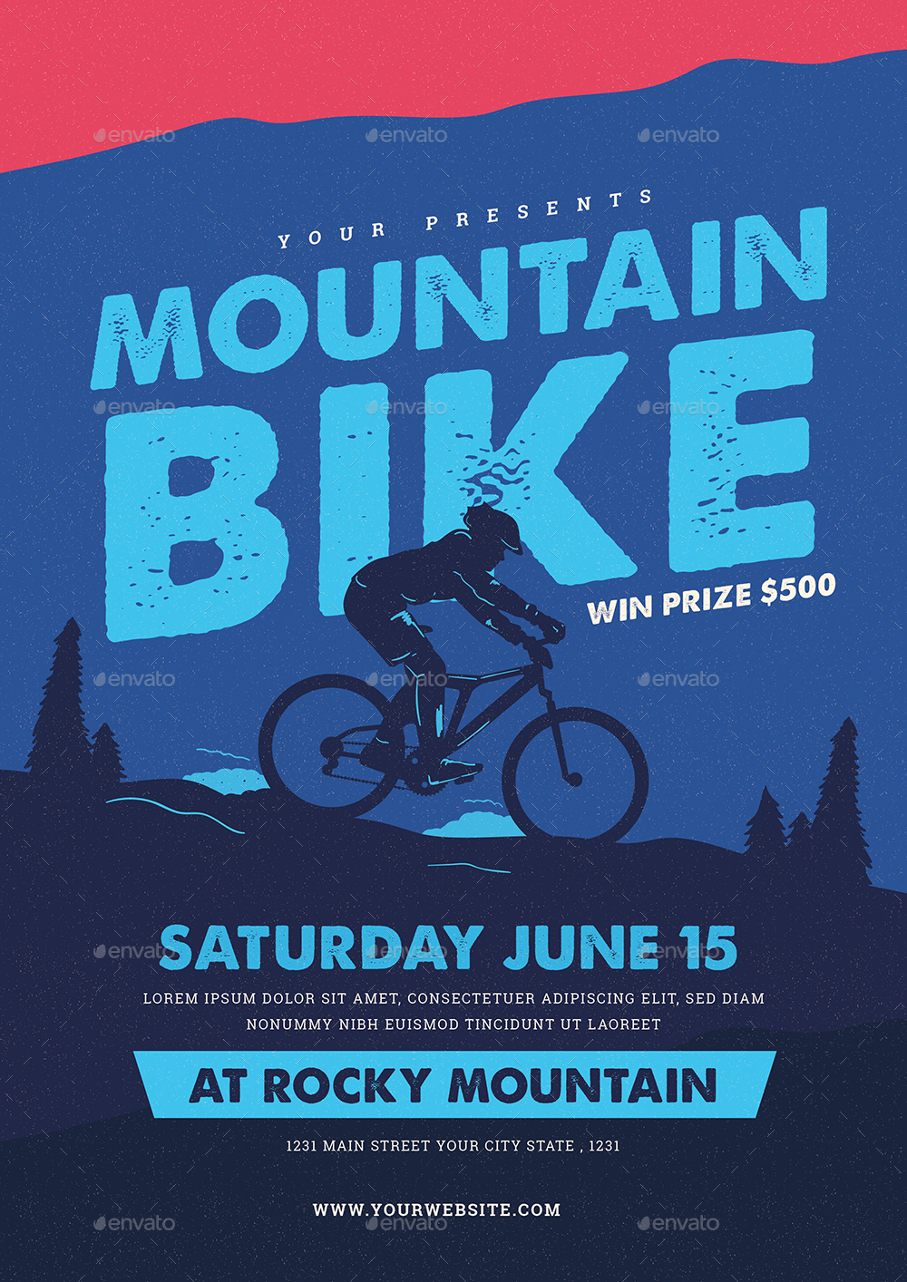 mountain bike event flyer by guper