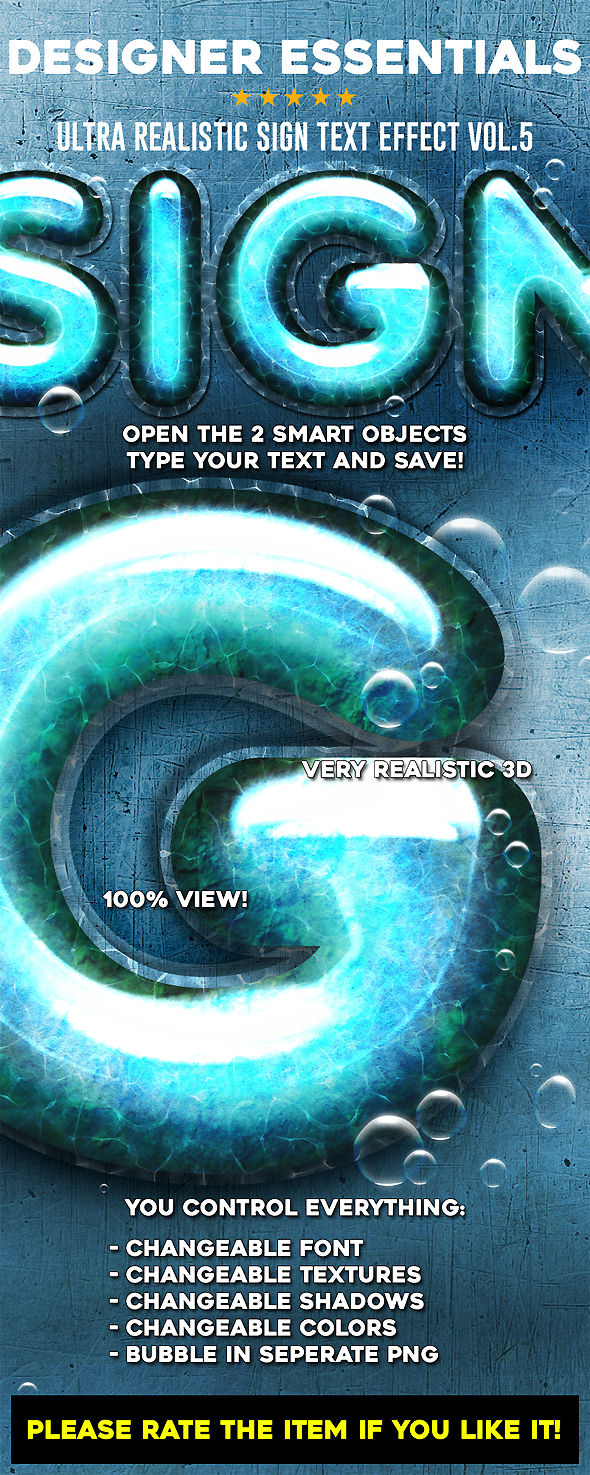Designer Essentials Ultra Realistic Text Effect Vol.5 - Text Effects Actions