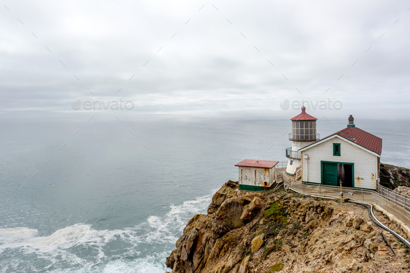 Point Reyes Lighthouse at Pacific coast, built in 1870 - Stock Photo - Images
