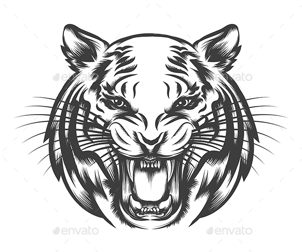Roaring Tiger Face - Tattoos Vectors