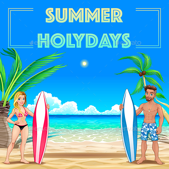 GraphicRiver Summer Poster for Holidays with Surfers and Sea 20358594