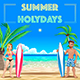 Summer Poster for Holidays with Surfers and Sea