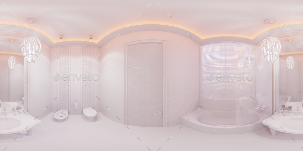 3d Illustration 360 Degrees Panorama Bathroom - Architecture 3D Renders