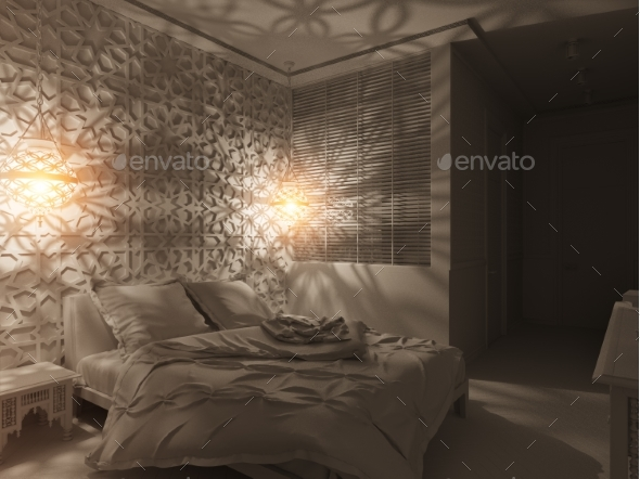 GraphicRiver 3D Render Bedroom Islamic Style Interior Design 20358640