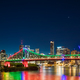 Night time panorama of Brisbane city with purple lights on Story - PhotoDune Item for Sale