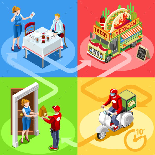 Food Truck Mexican Burrito Home Delivery Vector Isometric People - Vectors