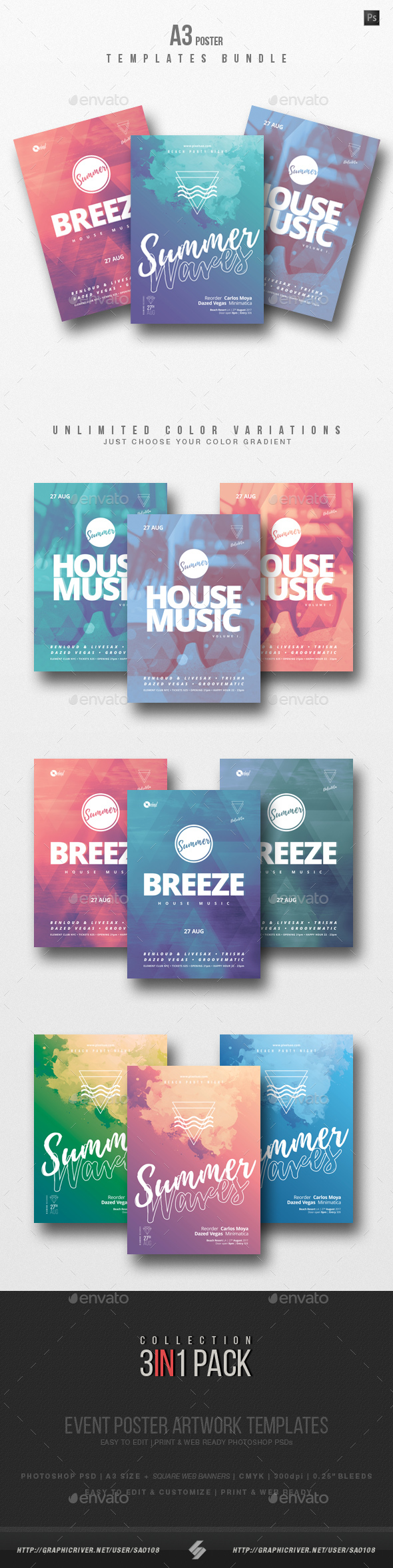 GraphicRiver House Music 3 Party Flyer Poster Templates Bundle 20359173