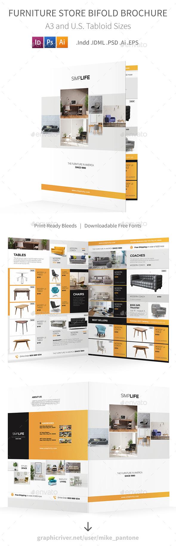Furniture Store Bifold / Halffold Brochure 3 - Informational Brochures